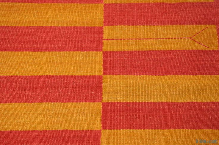 K0006422 Red, Yellow New Turkish Kilim Runner | Kilim Rugs, Overdyed Vintage Rugs, Hand-made Turkish Rugs, Patchwork Carpets by Kilim.com