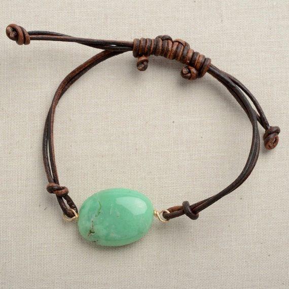 layering bracelet leather wrap bracelet green gemstone necklace chrysoprase leather bracelet jewelry for teen girls adjustable leather on Etsy, $29.00