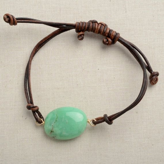 layering bracelet leather wrap bracelet green gemstone necklace chrysoprase leather bracelet jewelry for teen girls adjustable leather on Etsy, $29.00