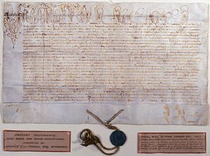 A papal bull is a special kind of patent or charter issued by a pope. It is named after the seal (bulla) that is appended to the end to authenticate it.