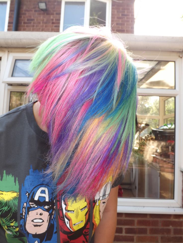 Rainbow hair. Love it! Wish I could get away with something like this in my line of work. lol