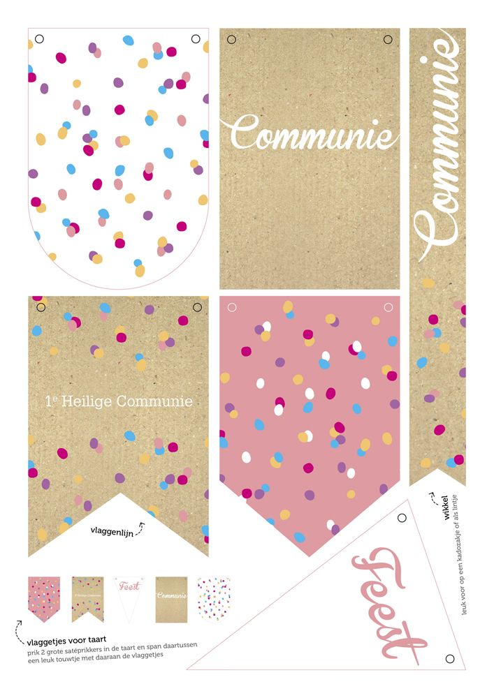 Vlaggen/banners communie meisje | kraft roze pink | party | feestje | vlaggetjes voor op de taart
