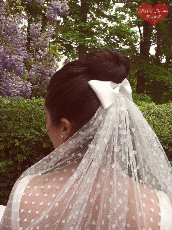 Ivory Polka Dot Wedding Veil with Satin Bow