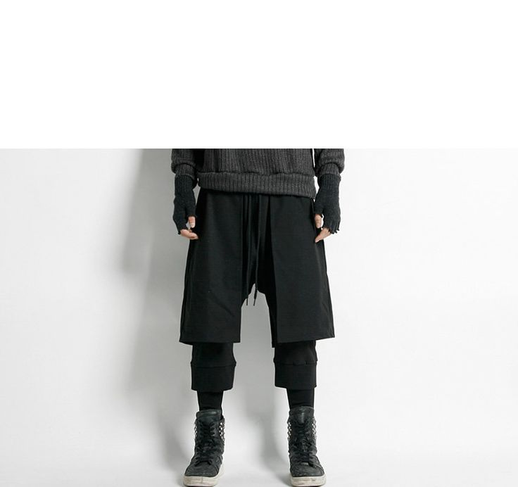 Drawstring-Waist Layered Harem Pants