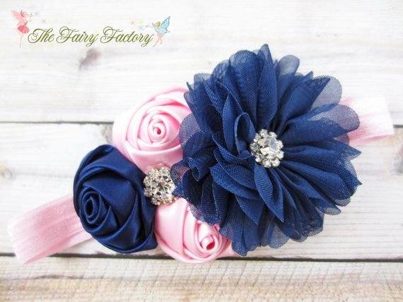 Pink and Navy Blue Headband, Satin & Chiffon Flowers w/ Rhinestones Headband or Barrette, Flower Girl Headband, Baby Child Girls Headband