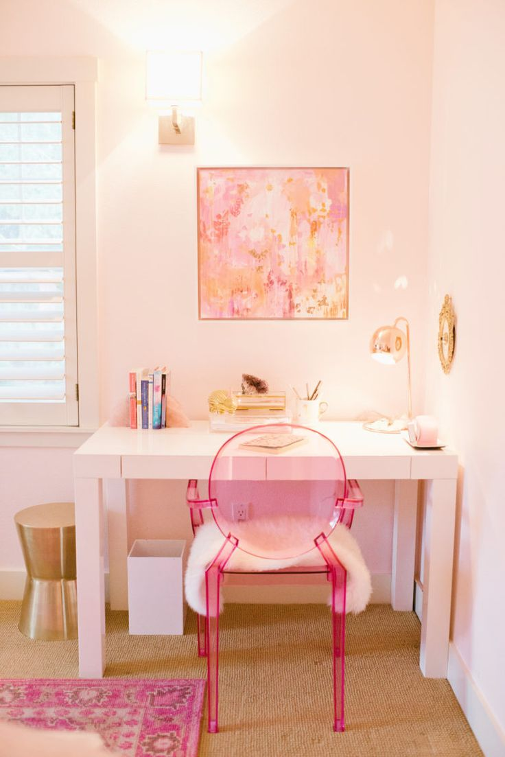 Inspiring Home Offices. Girly Pink Home Office Tour - Modern-Glam