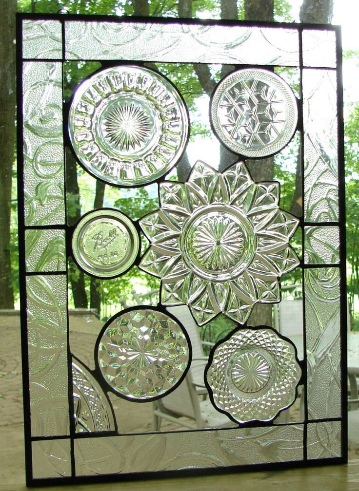 Vintage Crystal plate collage panel by Barbarasstainedglass, $155.00