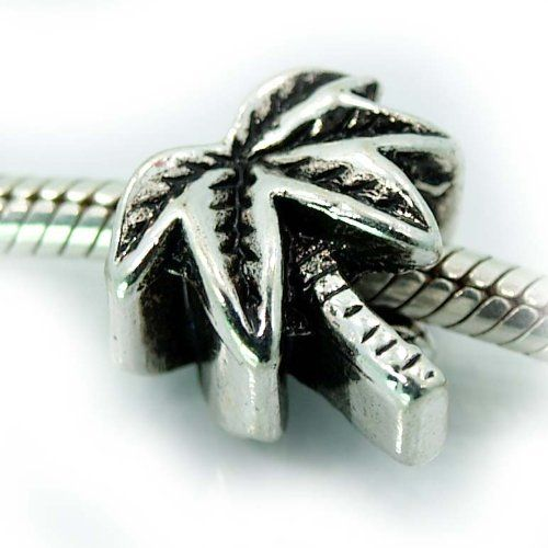 """ Palm Tree "" Antique'd Silver Bead Charm Spacer Pandora Troll Chamilia Biagi Bead Compatible for only $4.75"