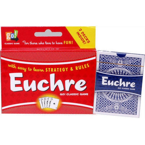 Euchre 2 Deck Card Game: Euchre is a wildly popular trick-taking game. An exciting card game for 2-7 players, it's the perfect two-person card game or an exciting social game for a larger group. Two card decks with instructions and rule variations are included.  $7.99  http://calendars.com/Card-Games/Euchre-2-Deck-Card-Game/prod1279055/?categoryId=cat430010=cat430010#