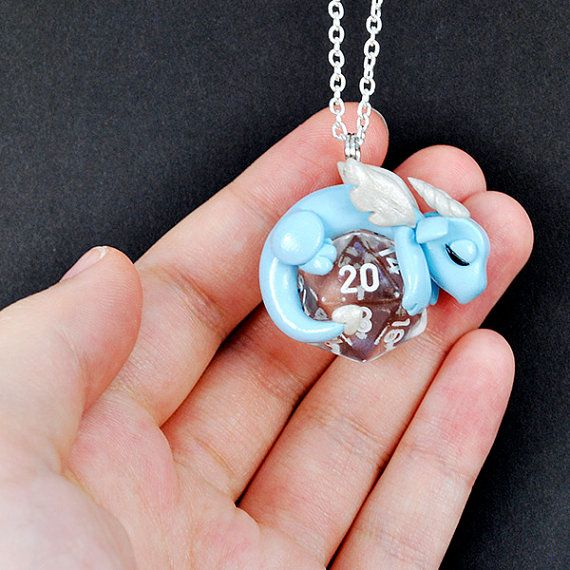 Design your own d20 dragon necklace, polymer clay baby dragon pendant, d20 necklace, geeky jewelry, gamer gift, dungeons and dragons, DnD
