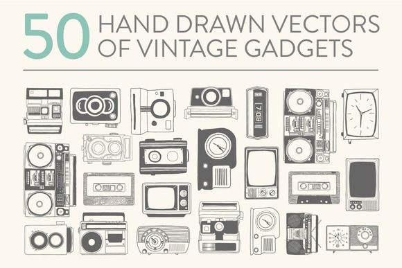 50 hand drawn vector vintage gadgets by Storyteller Imagery on Creative Market