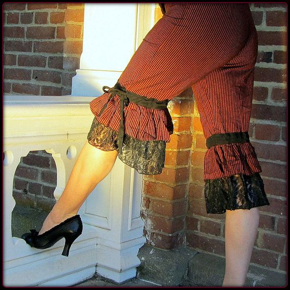 Steampunk Pants ~ Pirate Bloomers ~ Red Stripes Black Lace Ruffle Capri ~ Burning Man Victorian Gothic Cosplay ~ Belly Dance Fusion