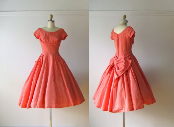 SALE vintage 1950s dress / 50s coral pink party dress by Dronning
