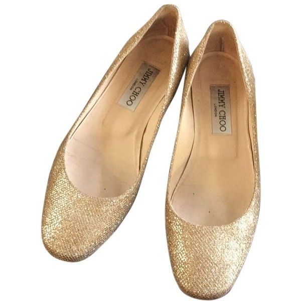 Pre-owned Jimmy Choo Gold Leather Ballet Flats ($107) ❤ liked on Polyvore featuring shoes, flats, gold, ballet flat shoes, leather ballet flats, gold flat shoes, ballet shoes and ballet pumps