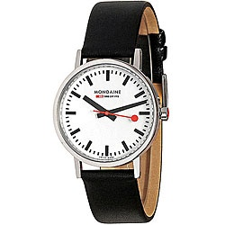 @Overstock - This Mondaine New Classic timepiece features a white dial and black leather strap. Modeled after the famous Swiss Railways clock in Zurich, this watch is made in Switzerland.http://www.overstock.com/Jewelry-Watches/Mondaine-Mens-Swiss-Railway-New-Classic-Watch/4798672/product.html?CID=214117 $140.00