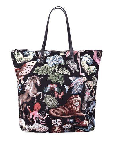 Men's Menagerie Print Nylon Tote Bag