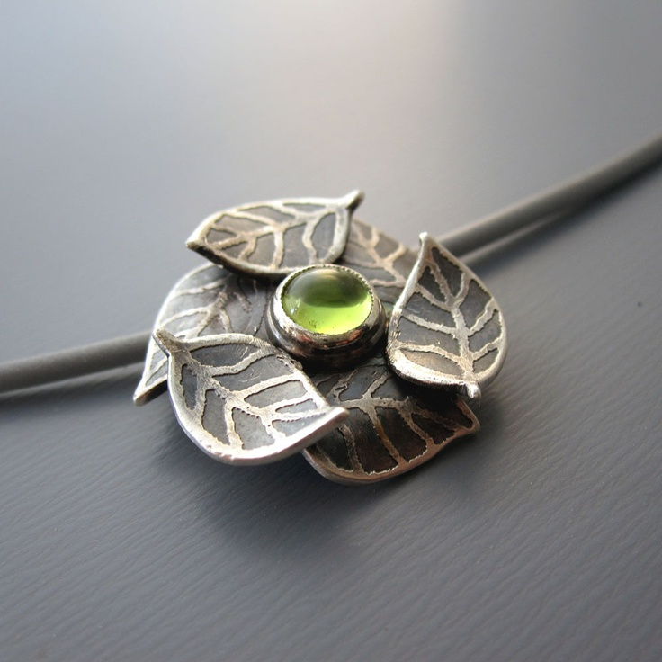 Sterling Silver Leaf and Peridot Necklace by Lisa Hopkins Design