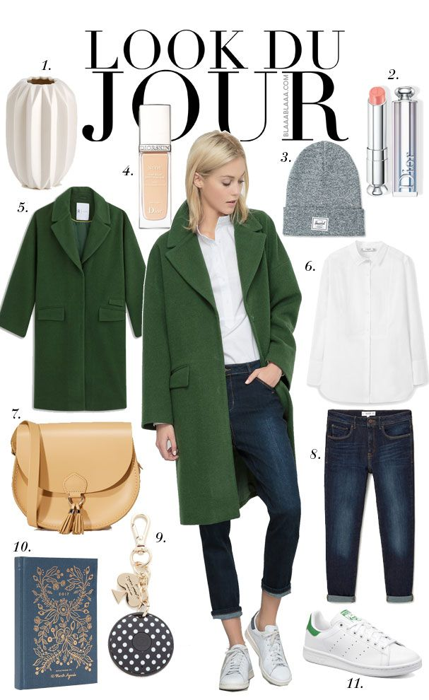 Look Du Jour: Well, sapiosexuell? White shirt+dark boyfriend jeans+white sneakers+green wool coat+camel crossbody+grey beanie. Fall Outfit 2016