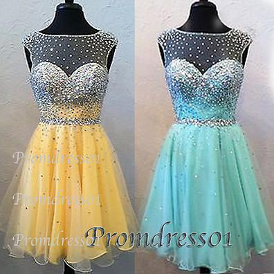2015 cute open back beaded tulle prom dress for teens. A short ball gown from #promdress01