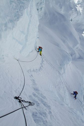 The South Col Five make their way up the fixed ropes to Camp 3.