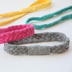 Use up some old cotton Tshirts to create soft and stretchy braided headbands.  Cheap, quick, and a no-sew project.
