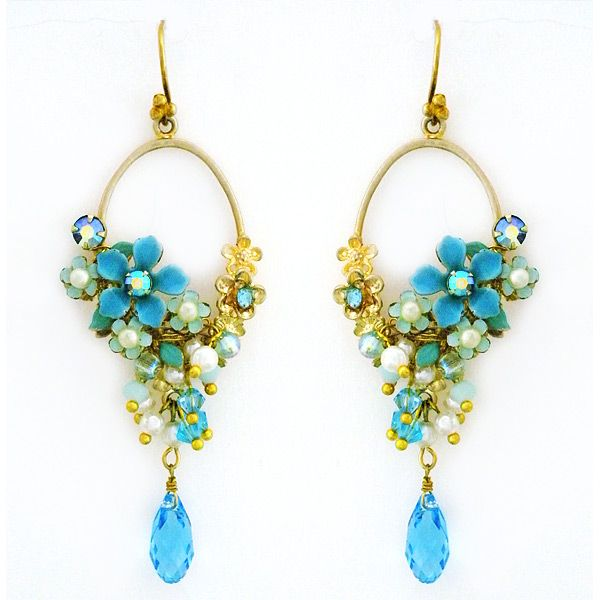 Blue Bells & Pearls Bridal Chandelier Earrings ~ Pansey & Jameson Jewelry. Bohemian glam chandelier bridal earrings. Hand-painted blue flowers joined by pearls & crystals. Chic. Uniquely you. $325