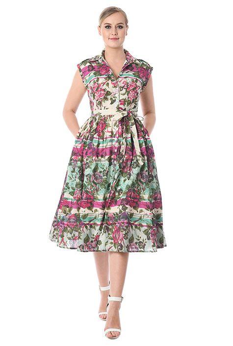 d83d0d5a4073c Floral stripe print ruffle trim cotton shirtdress  eShakti
