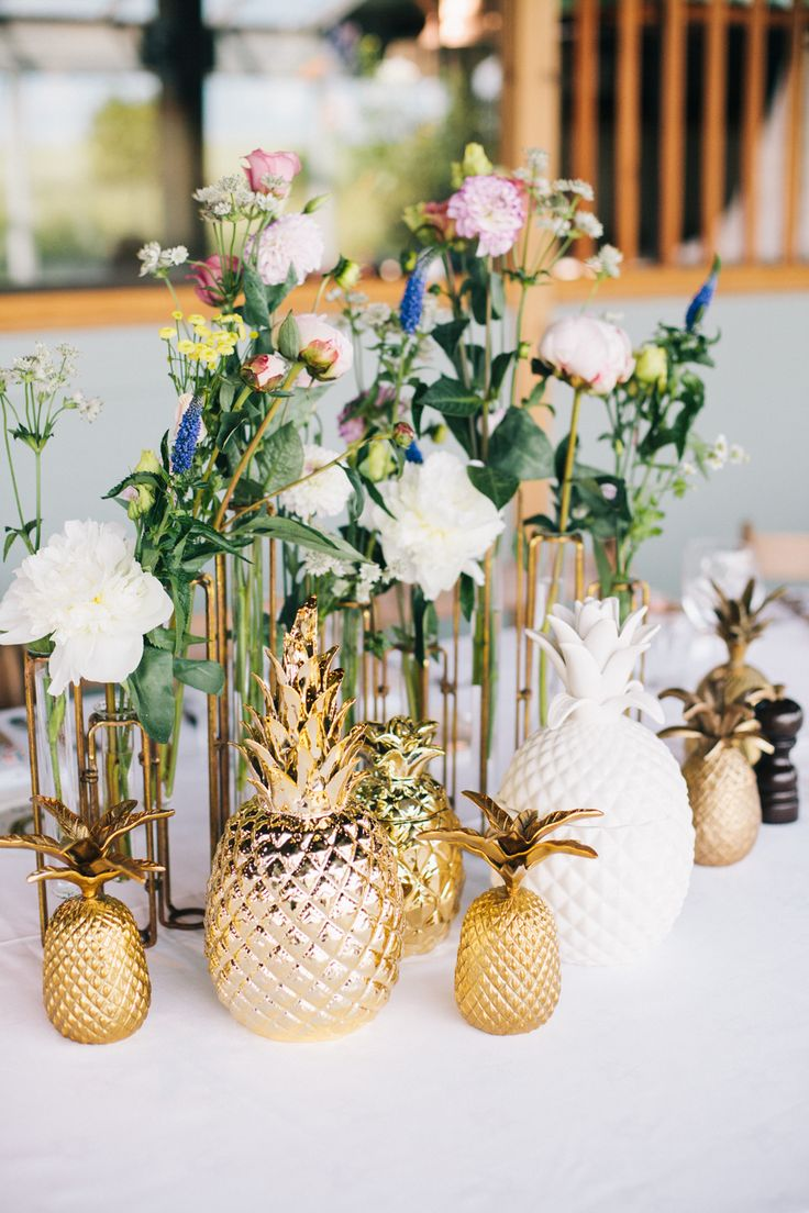 Gold Pineapple ceramics and test tube flower stem vases | Contemporary Country Wedding | Cripps Stone Barn Wedding Venue | Styling And Prop Hire By Hey Style | Images From Lee Robbins Photographic | Film By Sugar8 | http://www.rockmywedding.co.uk/laura-david-2/