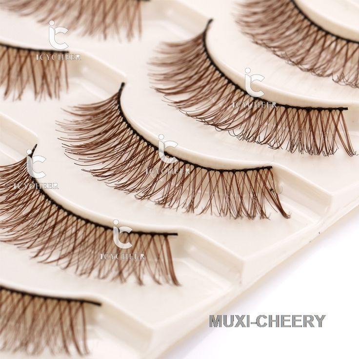 Naturalne 5 Par Makeup Fałszywe Rzęsy Rzęs Rozszerzenie Długo Handmade Brown