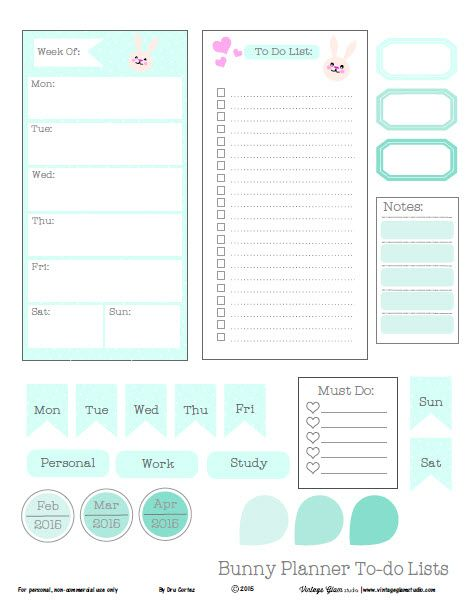 Free printable download of several planner elements and to-do lists for personal use in planner organization or other types of papercrafting projects.