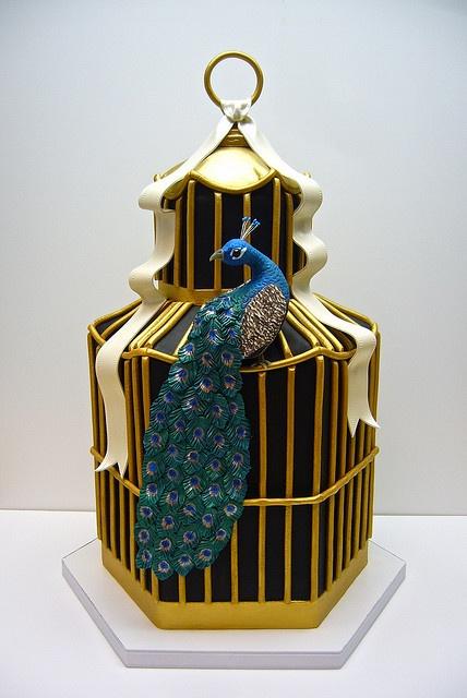 birdcage & peacock cake