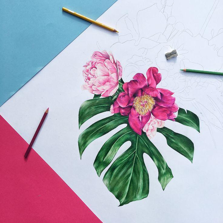 Flower drawing, art, tropical flowers, pencil art, art prints, flat lay, progress shot, hand drawn