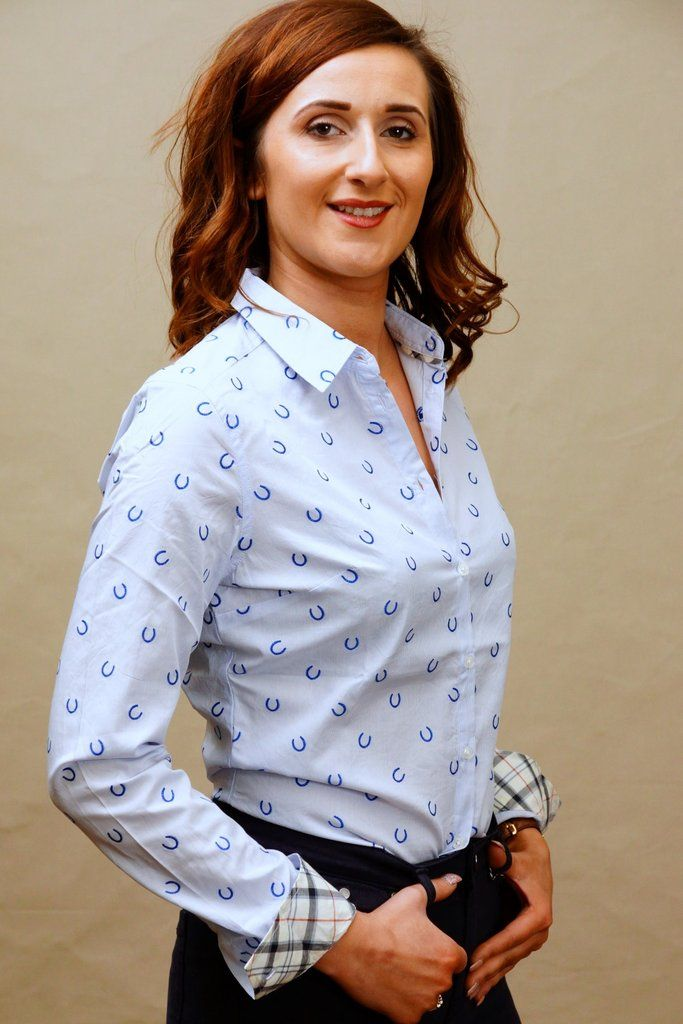 6863344f6e004 Barbour Daisyhill Ladies new regular fit shirt in pale blue horseshoe - Smyths  Country Sports