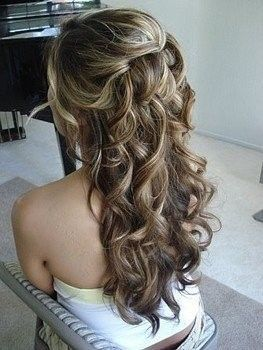 Bridal Hair: Hair Ideas, Wedding Hair, Half Up, Bridesmaid Hair, Long Hair, Prom Hair, Hairstyle, Hair Style, Curly Hair