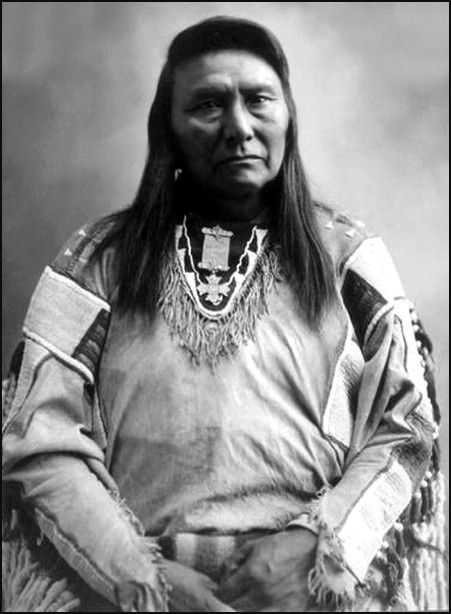 A studio portrait of the great Chief Joseph of the Nez Perce.