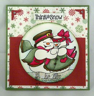 """High Hopes Stamps: Think Snow by Lisa using  """"Snowy Couple"""" (TT016) and """"Think Snow 2"""" Sentiment (HH006)."""