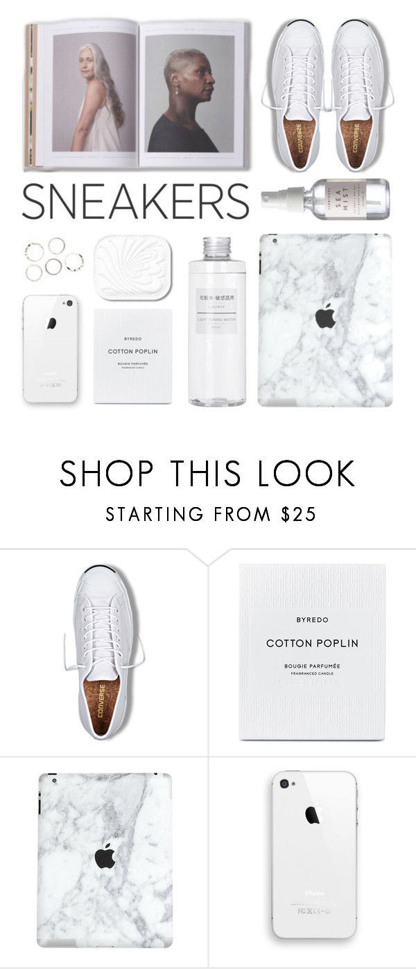 """""""White Sneakers"""" by kearalachelle ❤ liked on Polyvore featuring Converse, Muji and whitesneakers"""
