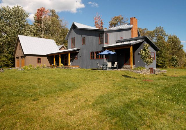 Classic steel frame vermont farmhouse w detached garage for American garage builders