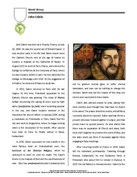 a biography of john calvin the french theologian and pastor John calvin: a short biography john calvin, or to give him his proper french name, jean cauvin, was born in noyon, picardie, france on july 10th, 1509 this was an ancient cathedral city and was an important centre for the roman catholic church in northern europe.