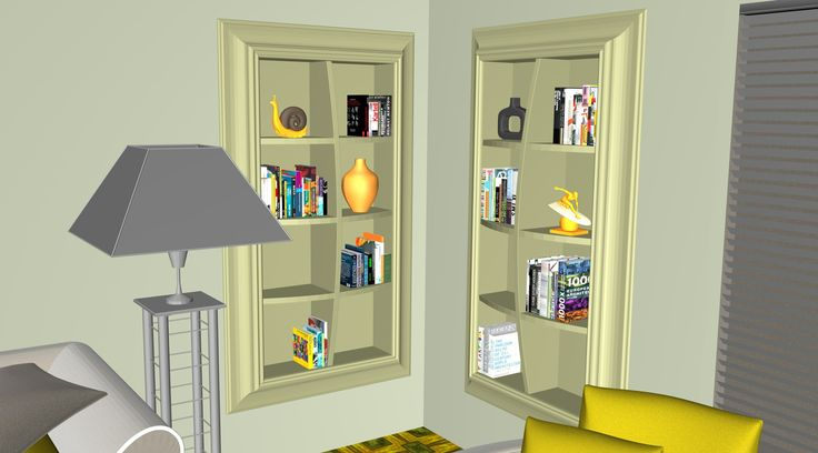 Bookcase and shelving corner in the living room and family room.  Graphics from an article tittle: Presenting a 3d kitchen hostess-centric design concept for home space integration and 3d food models by 3D-Cuisines.