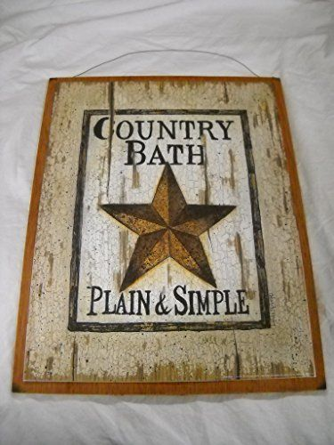 Country Bath Plain  Simple Barn Star Outhouse Sign Bathroom Decor Wooden Wall Art Sign -- Want additional info? Click on the image. (This is an affiliate link and I receive a commission for the sales)