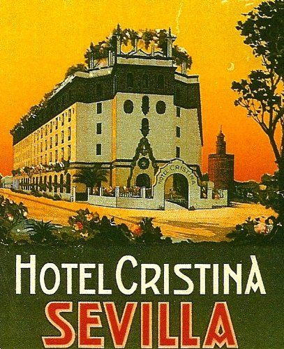 Fantastic A4 Glossy Print - 'Hotel Cristina - Sevilla' - Taken From A Rare Vintage Travel Poster (Vintage Travel / Transport Posters) by Unknown http://www.amazon.co.uk/dp/B006UQU0X0/ref=cm_sw_r_pi_dp_T4jovb0SC1MPJ
