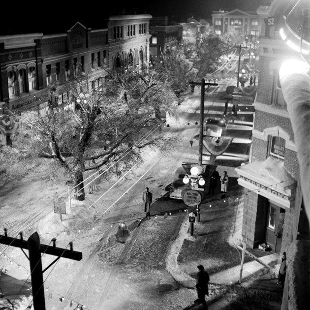 """On the set of Bedford Falls. These pictures from LIFE show the making of """"It's a Wonderful Life."""""""