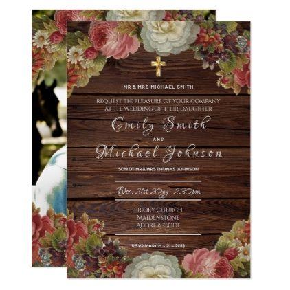 Catholic Wedding Invitation - ADD PHOTO - Formal - summer wedding diy marriage customize personalize couple idea individuel