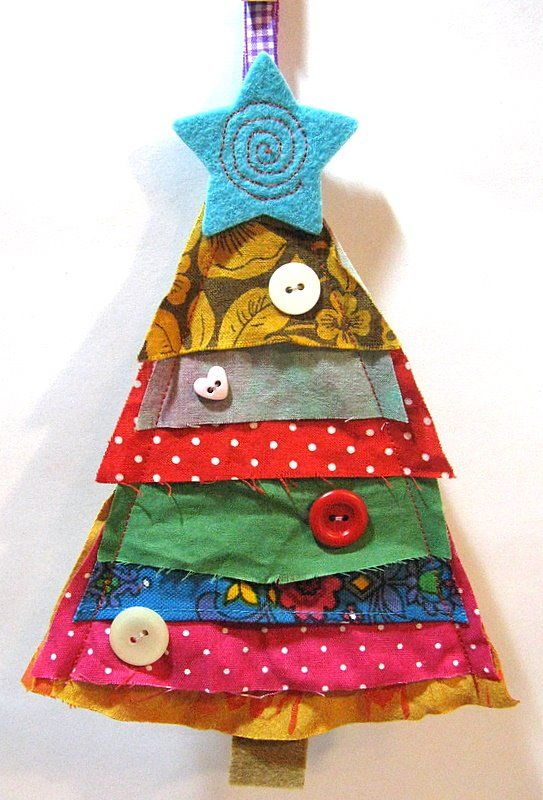Awesome little ornament - link goes nowhere...layer triangles of fabric, sew up the sides, add a felt star and trunk, decorate with buttons...ribbon loop for hanging...