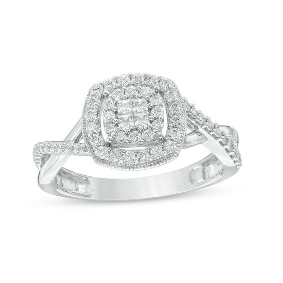 10k White Gold Diamond Engagement Ring Women 5//32 inch wide