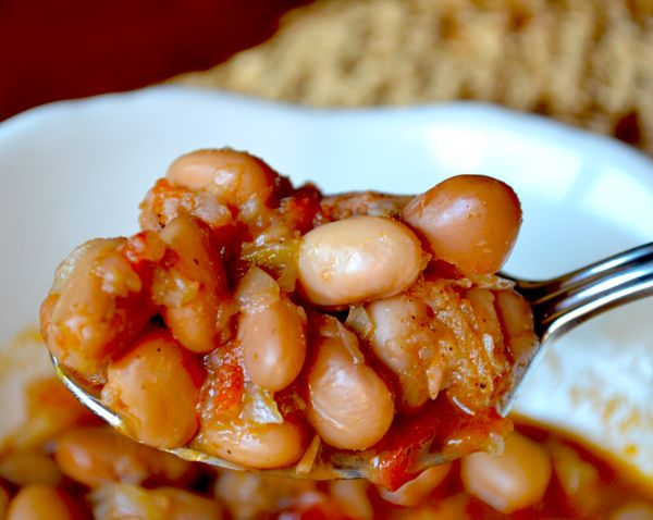 Patsy's Ranch-Style Pinto Beans with Smoked Sausage and Rotel Tomatoes.  This is my mother's recipe for ranch-style red beans.  They're so good you'll think you've die and gone to heaven when you serve them!