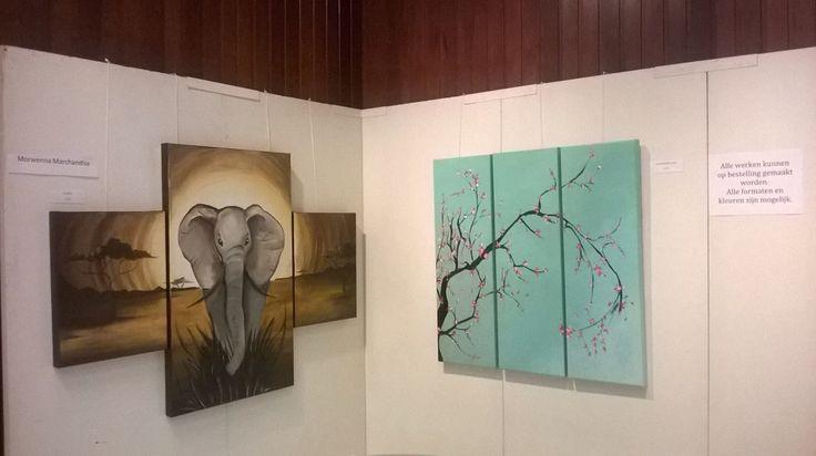 Acrylschilderijen olifant en Japanse kerselaar.