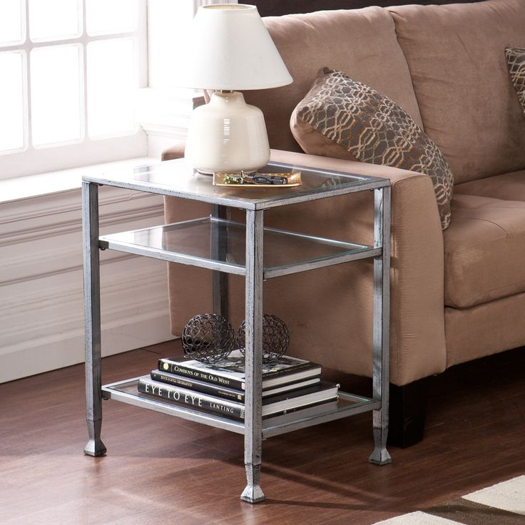 harper blvd silver metal and glass end table by harper blvd - Side Tables For Living Room