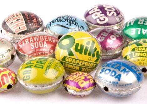 Bottle Cap Beads:You need to find a rounded form, as well as an exact fitting piece to place the cap between and then hammer or press into a bowl shape,